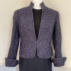 Lafayette 148 purple and black tweed crop blazer